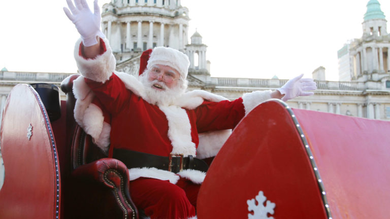 ©Press Eye Ltd Northern Ireland - 12th November 2011  Mandatory Credit - Picture by Darren Kidd/Presseye.com   Santa takes centre stage at his throne in the Enchanted Forest Grotto at CastleCourt after a Christmas Parade from Belfast City Hall.