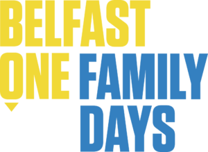 Primary BelfastOne logo Family days tagline white yellow easter