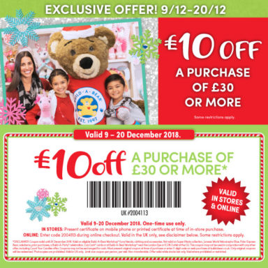 £10 off a purchase of £30 or more