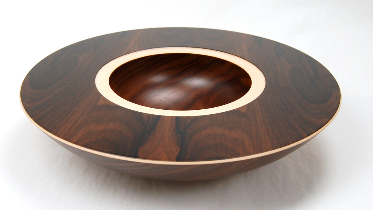 layered bowl in walnut with sycamore and ziricote veneer by Mark Hanvey