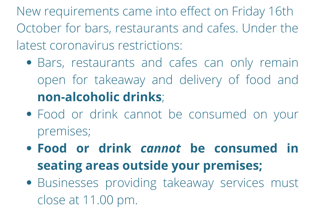 Reminder for bars, restaurants and cafes